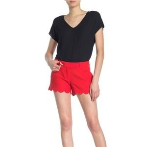 J. Crew Red Scalloped Linen Blend Shorts New